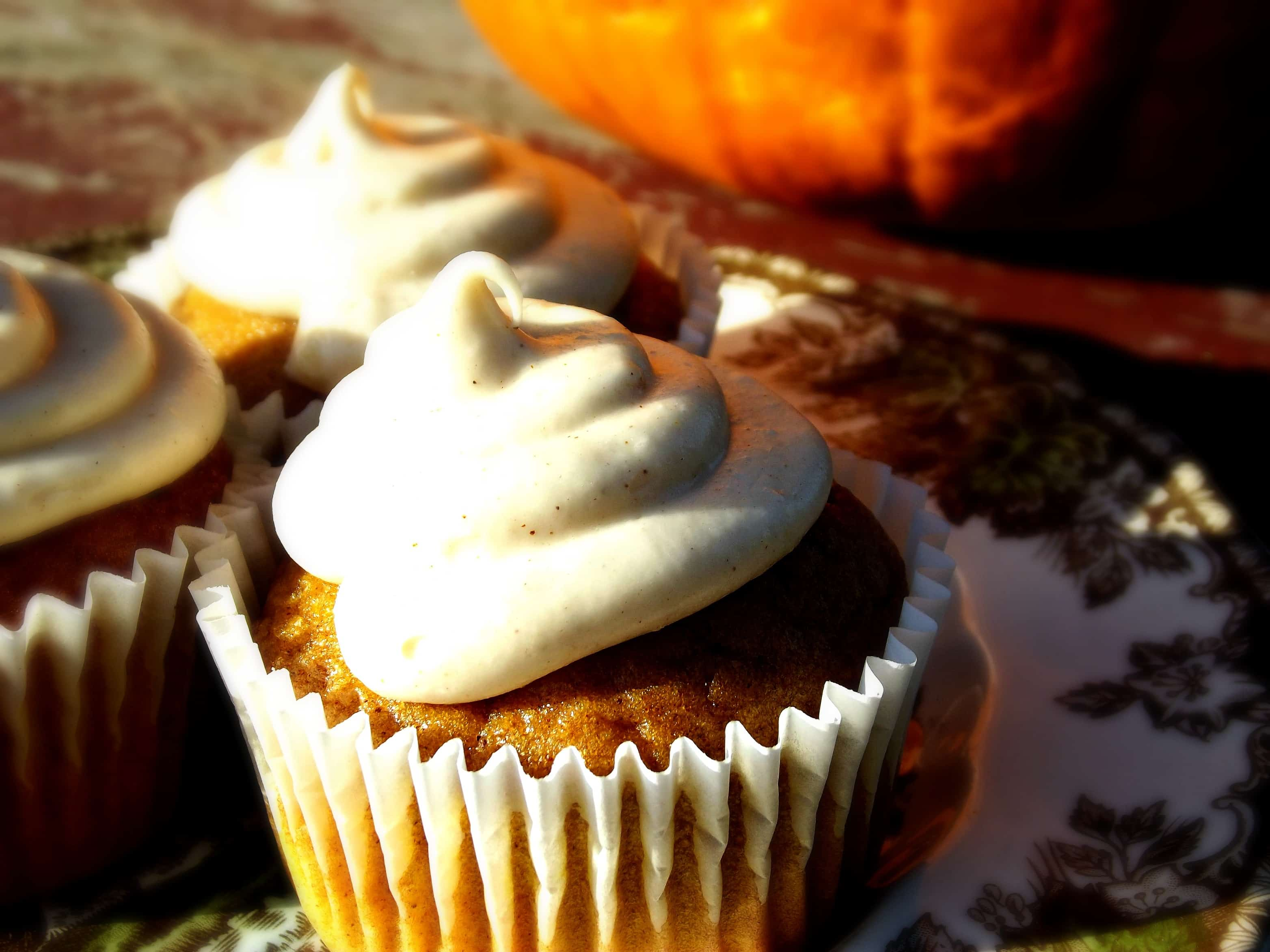 Pumpkin Cupcakes with Browned Butter-Cinnamon Cream Cheese Frosting
