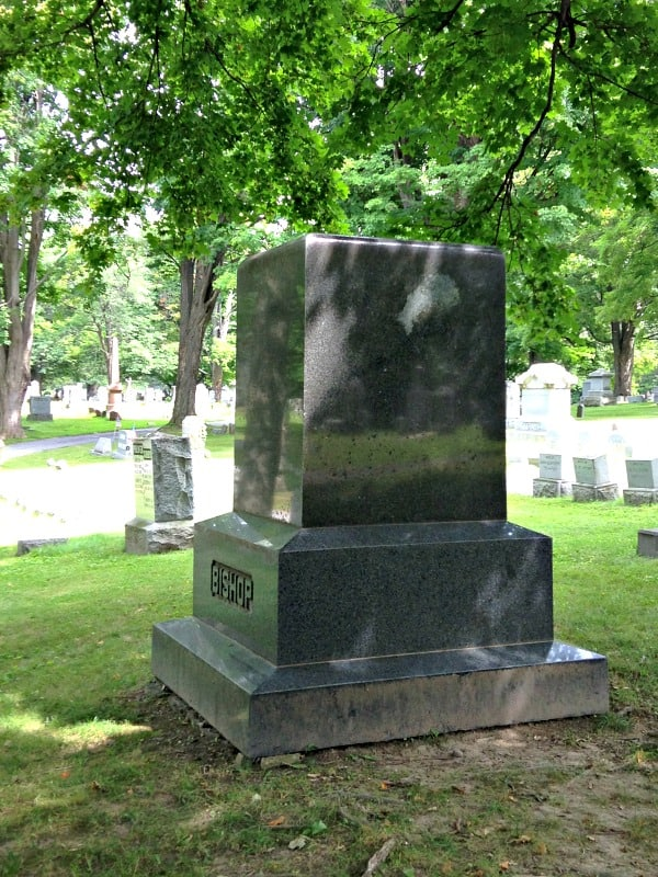 The local legend of a mysterious face of a woman showing in a white marking on a granite gravestone is shared by Chris Clemens.
