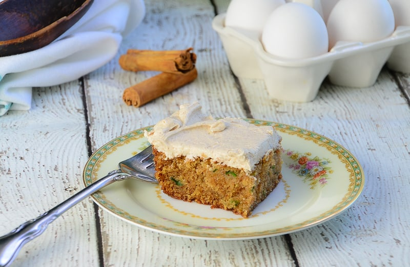 Cinnamon Zucchini Cake with Cinnamon Cream Cheese Frosting