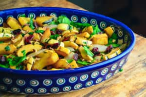 Roasted Delicata Squash with Onions, Spinach, and Cranberries