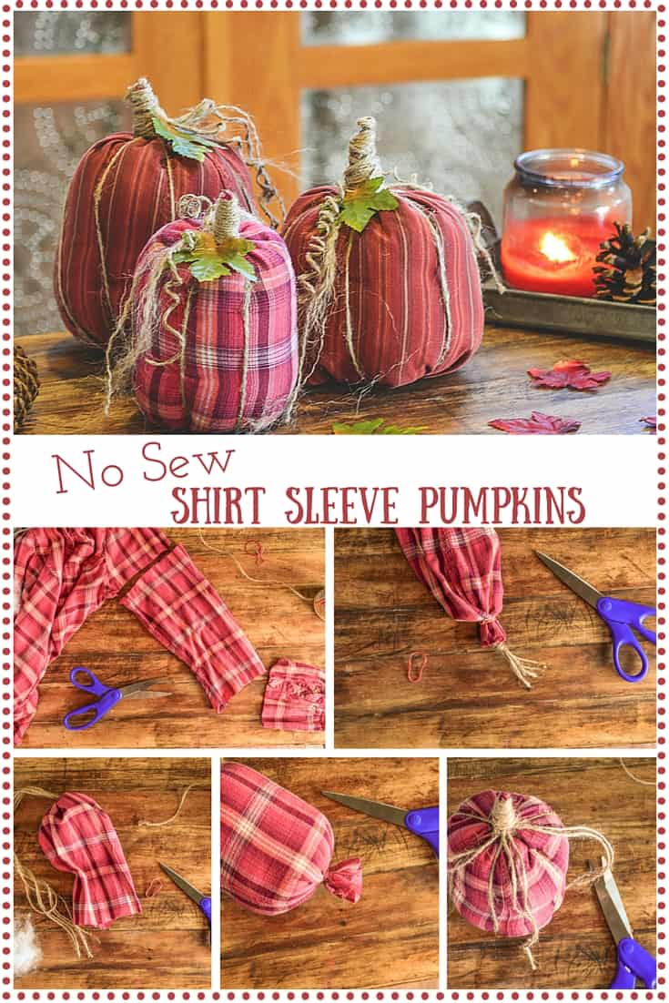 Quick and easy No Sew Shirt Sleeve Pumpkins are an adorable fall decor you can DIY in about 30 minutes! Make a bunch and create a little pumpkin patch of no-sew shirt sleeve pumpkins!
