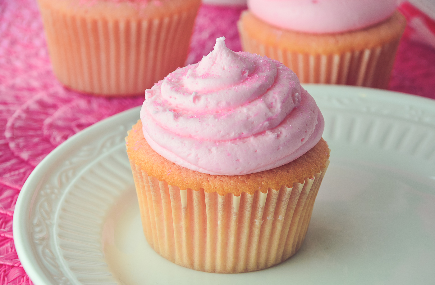 Almond Cupcakes with Cherry Almond Buttercream Frosting