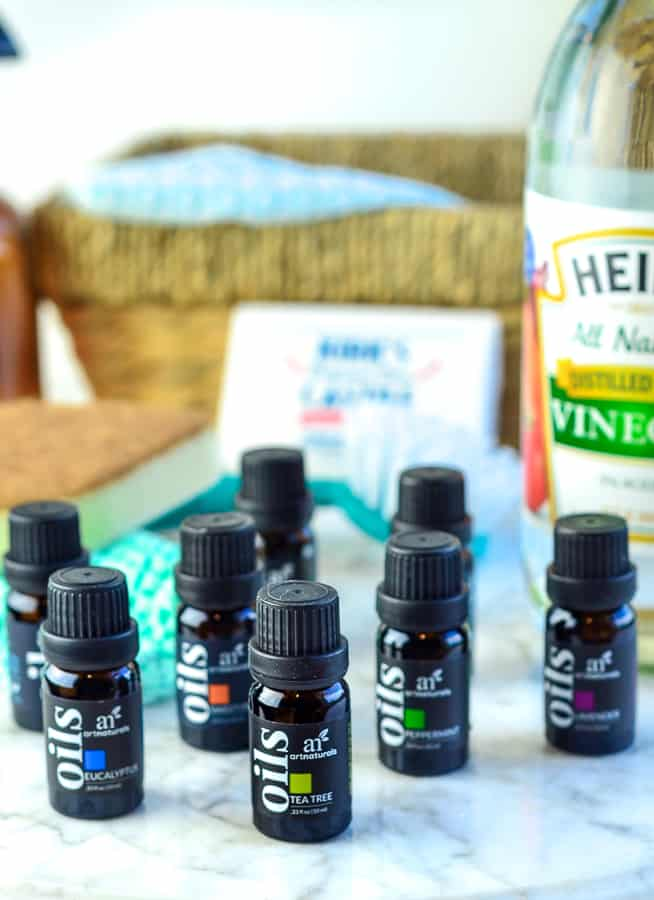 When just starting out with making homemade cleaners go with Eucalyptus oil, Tea Tree oil, Lavender oil, and a citrus oil you enjoy the scent of.