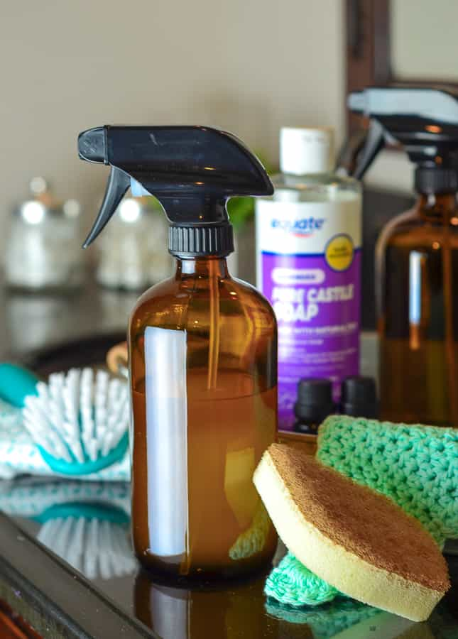 Glass spray bottles are a nice way to store and prevent deterioration and permeation of your homemade cleaners