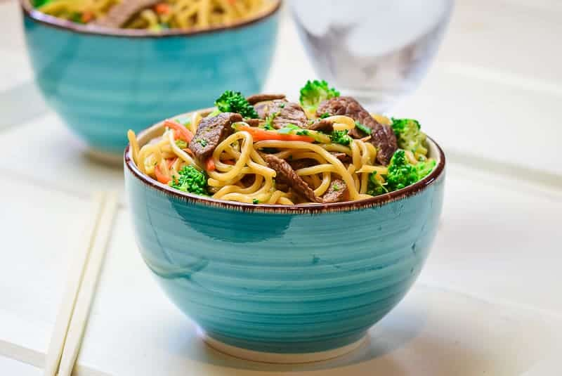 Beef and Broccoli Lo Mein in bowl