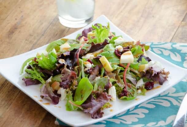 Spring Mix Salad with Pomegranate Honey Dijon Balsamic Vinaigrette
