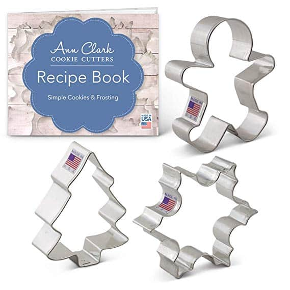 Christmas/Holiday Cookie Cutter Set with Recipe Book - 3 Piece - Snowflake, Gingerbread Man and Christmas Tree - Ann Clark Cookie Cutters - USA Made Steel