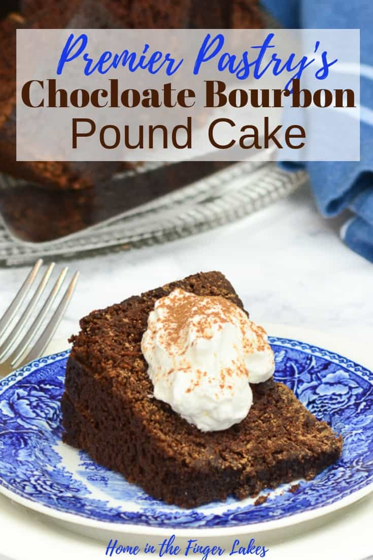 A rich, dense, dark chocolate bourbon pound cake from Chef Paula Stadtmiller of Premier Pastry in Rochester.