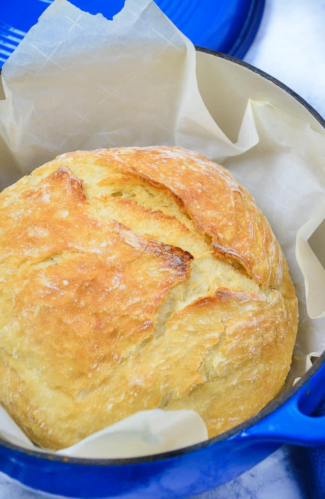 No knead bread in a blue dutch oven.