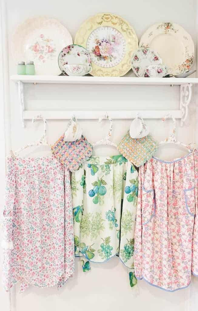 Pinterest Inspired Thrift Store Vintage Apron Display