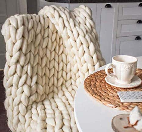 Chunky Knit Blanket Hand Made Merino Wool Throw Boho Bedroom Sofa Home Decor Giant Yarn