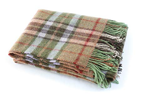 Biddy Murphy Irish Wool Blanket Fringed 100% Wool Throw Blanket Green Plaid Made in Ireland