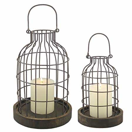 Rustic Metal Wire Cage Cloche Set with Rustic Wooden Bases