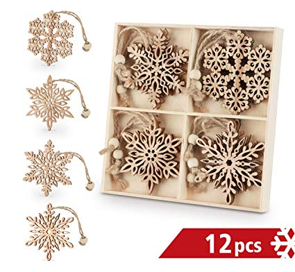 Wooden Snowflakes 3 inch Christmas Ornaments
