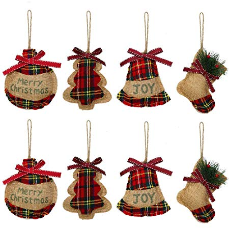 Rustic Christmas Tree Ornaments Stocking Decorations
