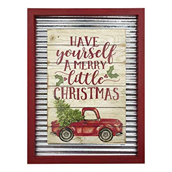 Christmas Galvanized Red Truck Wall Art Sign