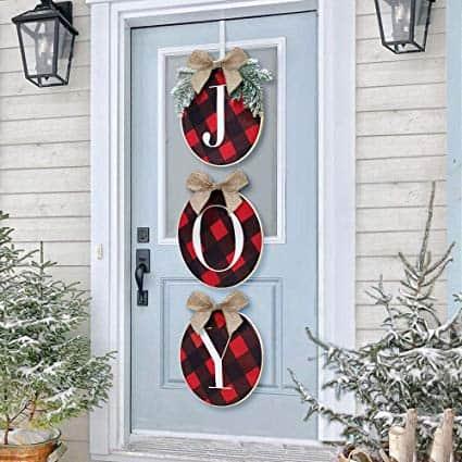 Christmas Wreath - Joy Sign - Buffalo Check Plaid Wreath