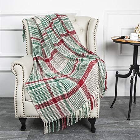 Christmas Vintage Fluffy Plaid Throw Blanket