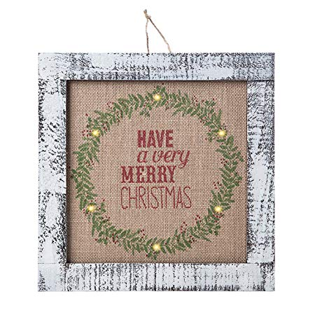 Christmas LED Lit Wood Plaque
