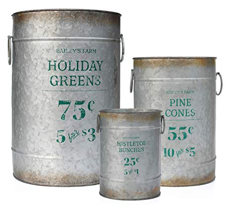Galvanized Greenery Buckets (Set of 3)