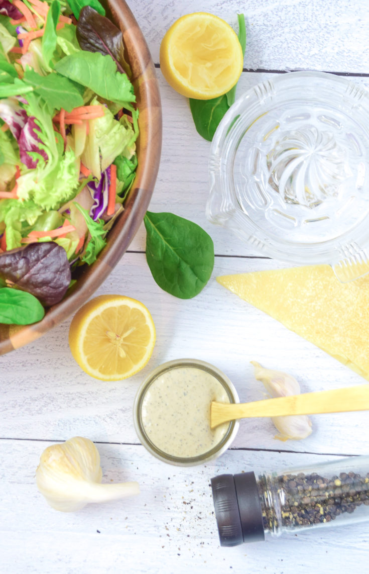 Garlic Pepper Parmesan Salad Dressing Inspired by The Changing Scene