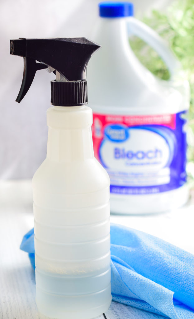 plastic spray bottle with a jug of bleach slightly out of focus in the background.