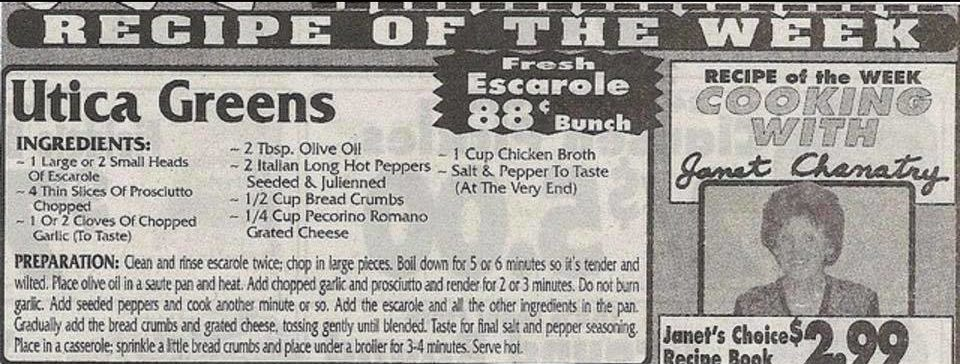 A recipe clipping from Chanatry's weekly sales flyer. the Recipe of the week from Janet Chanatry is Utica Greens.